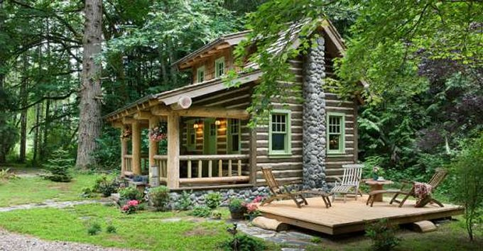 Romantic Log Cabin In The Forest